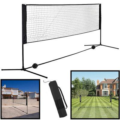 Decopatent Badminton net / Tennis net in hoogte verstelbaar - 3 meter breed & max 155 cm hoog - Set bestaat uit sportnet, stevig frame en opbergtas - Badmintonnet / Tennisnet voor tuin, camping, speelplaats , vakantie - Easy en eenvoudig meenemen - Decopatent®