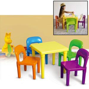 Decopatent Kindertafel met stoeltjes van kunststof - 1 tafel en 4 stoelen voor kinderen - Multi Color Gekleurde Tafel & Stoelen - Kleurtafel / speeltafel / knutseltafel / tekentafel / zitgroep set - Kindertafel en stoeltjes - Decopatent®