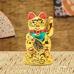 Decopatent Maneki Neko Lucky Cat - Zwaaiende kat met bewegende arm - Japanse / Chinese gelukskat - Geluksbrenger Chinese kat - Japanse gelukskat - Maat: S -> 12 Cm Hoog - Decopatent®