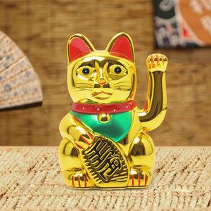 Decopatent Maneki Neko Lucky Cat - Zwaaiende kat met bewegende arm - Japanse / Chinese gelukskat - Geluksbrenger Chinese kat - Japanse gelukskat - Maat: XL -> 18.2 Cm Hoog - Decopatent®