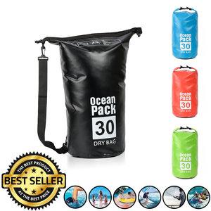 Decopatent Waterdichte Tas Ocean Pack 30L - Waterproof Dry Bag Sack - Schoudertas Droogtas 100% Waterdicht - Survival Outdoor Drybag Rugzak - Survival Bag plunjezak - Outdoor Tas - Reistas - Boottas - Zeiltas - Drybags 30 Liter - Kleur: ZWART - Decopatent®
