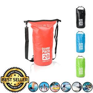 Decopatent Waterdichte Tas Ocean Pack 20L - Waterproof Dry Bag Sack - Schoudertas Droogtas 100% Waterdicht - Survival Outdoor Drybag Rugzak - Survival Bag plunjezak - Outdoor Tas - Reistas - Boottas - Zeiltas - Drybags 20 Liter - Kleur: ROOD - Decopatent®