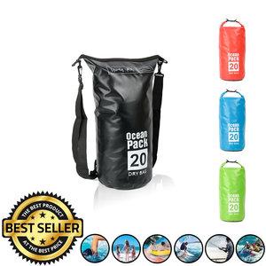 Decopatent Waterdichte Tas Ocean Pack 20L - Waterproof Dry Bag Sack - Schoudertas Droogtas 100% Waterdicht - Survival Outdoor Drybag Rugzak - Survival Bag plunjezak - Outdoor Tas - Reistas - Boottas - Zeiltas - Drybags 20 Liter - Kleur: ZWART - Decopatent®
