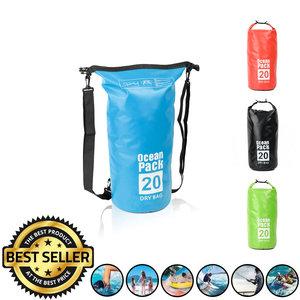 Decopatent Waterdichte Tas Ocean Pack 20L - Waterproof Dry Bag Sack - Schoudertas Droogtas 100% Waterdicht - Survival Outdoor Drybag Rugzak - Survival Bag plunjezak - Outdoor Tas - Reistas - Boottas - Zeiltas - Drybags 20 Liter - Kleur: BLAUW - Decopatent®