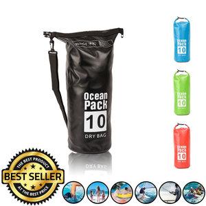Decopatent Waterdichte Tas Ocean Pack 10L - Waterproof Dry Bag Sack - Schoudertas Droogtas 100% Waterdicht - Survival Outdoor Drybag Rugzak - Survival Bag plunjezak - Outdoor Tas - Reistas - Boottas - Zeiltas - Drybags 10 Liter - Kleur: ZWART - Decopatent®