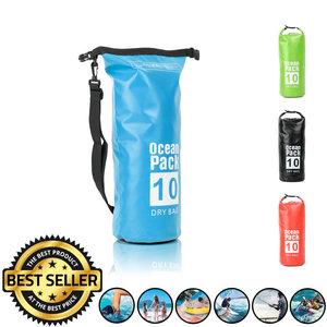 Decopatent Waterdichte Tas Ocean Pack 10L - Waterproof Dry Bag Sack - Schoudertas Droogtas 100% Waterdicht - Survival Outdoor Drybag Rugzak - Survival Bag plunjezak - Outdoor Tas - Reistas - Boottas - Zeiltas - Drybags 10 Liter - Kleur: BLAUW - Decopatent®