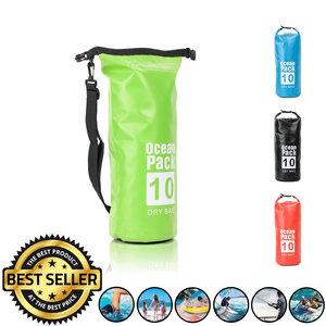 Decopatent Waterdichte Tas Ocean Pack 10L - Waterproof Dry Bag Sack - Schoudertas Droogtas 100% Waterdicht - Survival Outdoor Drybag Rugzak - Survival Bag plunjezak - Outdoor Tas - Reistas - Boottas - Zeiltas - Drybags 10 Liter - Kleur: GROEN - Decopatent®