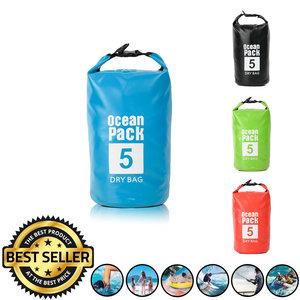 Decopatent Waterdichte Tas Ocean Pack 5L - Waterproof Dry Bag Sack - Schoudertas Droogtas 100% Waterdicht - Survival Outdoor Drybag Rugzak - Survival Bag plunjezak - Outdoor Tas - Reistas - Boottas - Zeiltas - Drybags 5 Liter - Kleur: BLAUW - Decopatent®