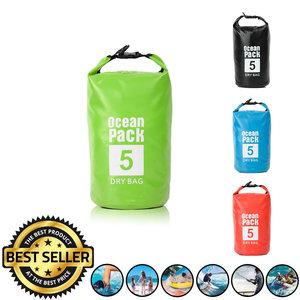 Decopatent Waterdichte Tas Ocean Pack 5L - Waterproof Dry Bag Sack - Schoudertas Droogtas 100% Waterdicht - Survival Outdoor Drybag Rugzak - Survival Bag plunjezak - Outdoor Tas - Reistas - Boottas - Zeiltas - Drybags 5 Liter - Kleur: GROEN - Decopatent®