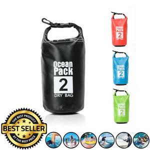 Decopatent Waterdichte Tas Ocean Pack 2L - Waterproof Dry Bag Sack - Droogtas 100% Waterdicht - Survival Outdoor Drybag Rugzak - Survival Bag plunjezak - Outdoor Tas - Reistas - Boottas - Zeiltas - Drybags 2 Liter - Kleur: ZWART - Decopatent®