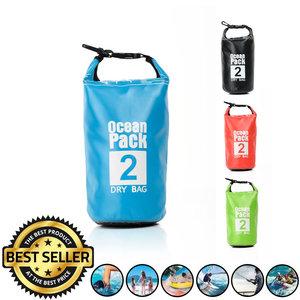 Decopatent Waterdichte Tas Ocean Pack 2L - Waterproof Dry Bag Sack - Droogtas 100% Waterdicht - Survival Outdoor Drybag Rugzak - Survival Bag plunjezak - Outdoor Tas - Reistas - Boottas - Zeiltas - Drybags 2 Liter - Kleur: BLAUW - Decopatent®