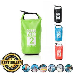 Decopatent Waterdichte Tas Ocean Pack 2L - Waterproof Dry Bag Sack - Droogtas 100% Waterdicht - Survival Outdoor Drybag Rugzak - Survival Bag plunjezak - Outdoor Tas - Reistas - Boottas - Zeiltas - Drybags 2 Liter - Kleur: GROEN - Decopatent®