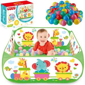 Decopatent Ballenbak met 40 Ballen - Baby Ballenbak met Vrolijke Dieren trein print - Ballenbad voor kinderen - Vierkante ballenbad - Ballentent Pop up systeem - Ballenbak met 40 ballen - Decopatent®