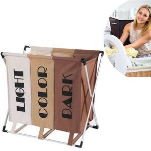 Decopatent Wassorteerder 3 Vakken voor Donkere / Lichte & Gekleurde was - 90 Liter - Opvouwbaar frame -Wasmand 3 Vakken - Badkamer Wassorteerder met 3 vakken - Waszak om was te sorteren op kleur - Kleur: Wit / Beige / Bruin - Decopatent®