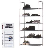 Decopatent Schoenenrek voor 15 paar schoenen - 6 etages - Organizer voor schoenen opbergen - Staand opbergrek schoenenrek - Schoenenkast - Opbergsysteem van metaal met kunststof verbindingen - Schoenenrek - Grijs - Decopatent®