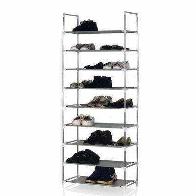Decopatent Schoenenrek voor 27 paar schoenen - 9 etages - Organizer voor schoenen opbergen - Staand opbergrek schoenenrek - Schoenenkast - Opbergsysteem van metaal met kunststof verbindingen - Schoenenrek - Grijs - Decopatent®