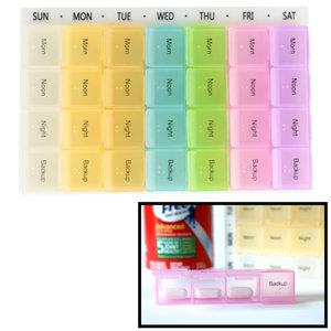 Decopatent XL Pillendoos / Medicijn Box met 28 Vakjes voor 4 Dagdelen - Week Pillendoos - Medicijnen Medicatiedoos 7 Dagen met 4 Compartimenten - Ochtend / Middag / Avond / Backup - Medicijnbak / Medicatie pillen organizer opbergdoos -Decopatent®