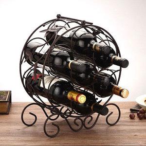 Decopatent Staand Rond Wijnrek van Metaal met Wijn Bladeren - Flessenrek voor 7 wijnflessen - Stapelbaar Wijnrek voor wijn flessen - Wijnrekje - Metalen Wijnrekken - Afm. 31.5 x 15.5 x 35.5 Cm - Decopatent®