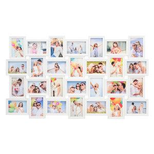 Decopatent XL Fotolijst collage voor 28 Foto's van 10 x 15 & 15 x 10 Cm - Fotolijsten Collage voor foto formaat 14x 10x15 Cm & 14x 15x10 Cm - Fotogalerij fotocollage - Fotolijstje met 28 fotokaders - Fotokader - Afm: 103.5 x 60.5 Cm - WIT - Decopatent®