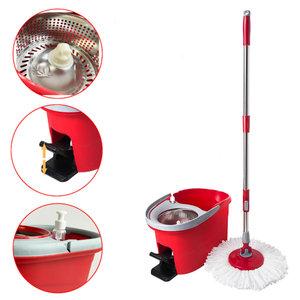 Decopatent Vloermopsysteem met emmer en pendaal - Mop set voor schoonmaken van vloer - Mop dweil met Dweilemmer - Spinmop Disc Dweilset - Vloermop met lange steel voor dweilen van vloeren -Decopatent®