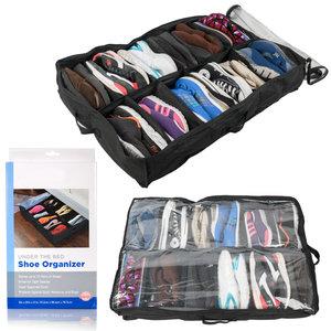 Decopatent Schoenen organizer opberg tas voor 12 Paar Schoenen - Schoenen opberg systeem - Schoenen opbergen onder bed of kast -Opbergbox - Schoenenopberger - Opberglade schoenen opbergsysteem - Schoenenzak met rits - Kleur: ZWART - Decopatent®