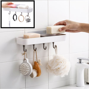 Decopatent Zelfklevende Hangende Dubbelezeephouder voor 2 stuks zeep met 4 Ophang haken - Voor Douche / Badkamer / Keuken / Toilet - Zeepbakje met plakstrip - Zeepschaal hangend - Zeep houder Muur / Wand Montage - Decopatent®
