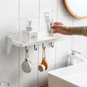 Decopatent Zelfklevend Keuken / Badkamer / Toilet Opbergrek met 1 Legplank en 4 Ophanghaken - Muur / Wand Bevestiging met Plakstrip - Keuken gerei houder - Wandplank - Zonder Boren & Schroeven - Decopatent®