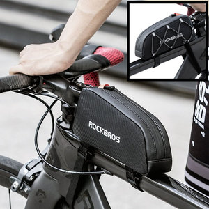 Decopatent PRO Fiets frametas voor bovenop het fietsframe - Waterbestendige frame Fietstas - Frametas Racefiets / Fiets / Koersfiets / Mountainbike / MTB fietsen / Electrische fiets / E-Bike- Regenbestendige Fiets Frametas - Zwart - Decopatent®