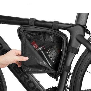 Decopatent PRO Fiets frametas Driehoek voor onder fietsframe - Waterbestendige frame Fietstas - Frametas Racefiets / Fiets / Koersfiets / Mountainbike / MTB fietsen / Electrische fiets / E-Bike- Regenbestendige Fiets Frametas - Zwart - Decopatent®
