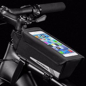Decopatent PRO Fiets frametas met Telefoonhouder - Waterbestendige Fietstas voor Touchscreen telefoon houder - Frametas Racefiets/Fiets/Koersfiets/Mountainbike/MTB fietsen - Regenbestendige Fiets Frametas - 6.2 Inch Gsm's - Zwart - Decopatent®