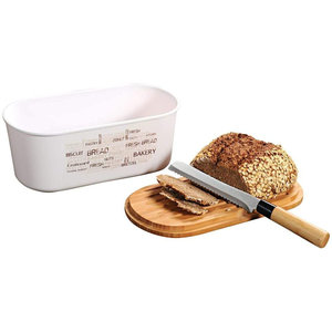 Kesper Melamine Ovale 2 in 1 Broodtrommel met Bamboe Snijplank   Brood Bewaar doos met hoge kwaliteit Bamboe snij plank   Met Bamboe Deksel, te gebruiken als brood snijplank   Afm. 34 x 20 x 14.5 Cm.   Kleur Brood trommel: Naturel Wit