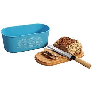 Kesper Melamine Ovale 2 in 1 Broodtrommel met Bamboe Snijplank   Brood Bewaar doos met hoge kwaliteit Bamboe snij plank   Met Bamboe Deksel, te gebruiken als brood snijplank   Afm. 34 x 20 x 14.5 Cm.   Kleur Brood trommel: Turquoise Blauw