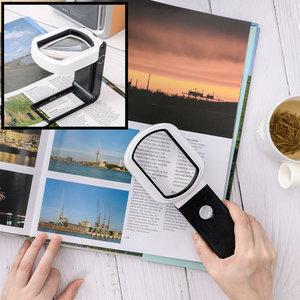 Decopatent Staande Hand Loep met LED verlichting - 10x & 25x Vergroting - Vergrootglas - Lezen voor Slechtziende -  22 x 8 x 3 Cm