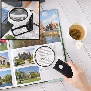 Decopatent Staande Hand Loep met LED verlichting - 10x & 25x Vergroting - Vergrootglas - Lezen voor Slechtziende -  23 x 11 x 3 Cm