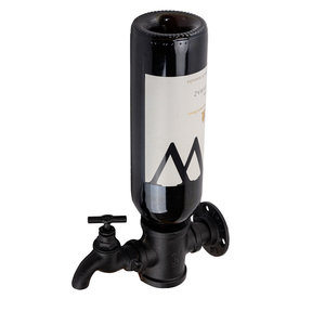 Decopatent Wand Wijnrek - Metaal - Voor 1 Wijnfles en Fictieve Tap Kraan - Flessenrek - Muur Wijnflesrek  - Wijnrekje - Zwart