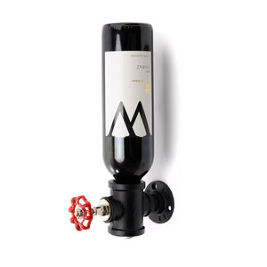 Decopatent Wand Wijnrek - Metaal - Voor 1 Wijnfles en Fictieve Draai knop - Flessenrek - Muur Wijnflesrek - Wijnrekje - Zwart