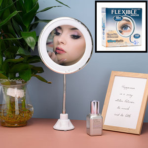 Decopatent Flexibele Make-Up Spiegel met verlichting - 360° Draaibaar - Zuignap Sterk - 10x Vergroting - Make Up Vergrootspiegel