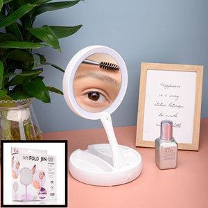 Decopatent Inklapbare Make Up Spiegel met LED verlichting - 10x Vergroting -  Opvouwbare staande Makeup Spiegel - Vergrootspiegel