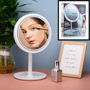 Decopatent Beauty Breeze Mirror - Make-Up Spiegel met LED Verlichting & Ventilatie - 360° Draaibaar - Make Up 5x Vergrootspiegel