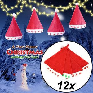 Decopatent 12 Stuks - MIX Kerstmuts met Verlichting - Kerstmuts Volwassenen met Lampjes - Inclusief Batterijen - Kerstmutsen voor Volwassenen