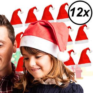Decopatent 12 Stuks - Kerstmutsen voor Kinderen - Kinder Kerstmuts - Kerstmuts voor kinderen van 3 tot 9 jaar - Kind - Jongens - Meisjes
