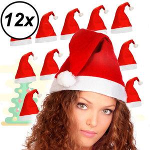 Decopatent 12 Stuks - Kerstmuts - Kerstmuts Volwassenen - Rood met Witte rand Kerst muts - Kerstmutsen voor Volwassenen - Man - Vrouw