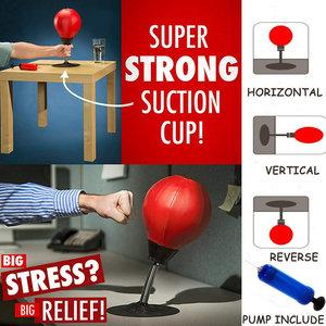 Decopatent Boksbal tafelmodel - Stressbal - Mini bokszak - Punching Ball - Tafel boksbal bureau op voet - Volwassenen & Kinderen