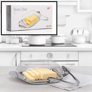 Decopatent Botervloot - Boterschaal met kunststof deksel en metaal - Boter Tang - Botervlootje Boter - RVS & Glas - Butter Dish