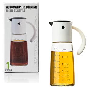 Decopatent Oliefles met Automatische schenktuit - Oliekan Glas - Olie dispenser fles voor olijfolie - Navulbaar - 300 ML - Zwart