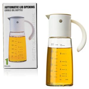 Decopatent Oliefles met Automatische schenktuit - Oliekan Glas - Olie dispenser fles voor olijfolie - Navulbaar - 300 ML - Grijs