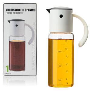 Decopatent Oliefles met Automatische schenktuit - Oliekan Glas - Olie dispenser fles voor olijfolie - Navulbaar - 350 ML - Zwart