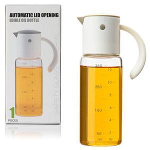 Decopatent Oliefles met Automatische schenktuit - Oliekan Glas - Olie dispenser fles voor olijfolie - Navulbaar - 350 ML - Grijs