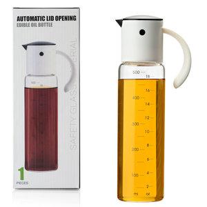Decopatent Oliefles met Automatische schenktuit - Oliekan Glas - Olie dispenser fles voor olijfolie - Navulbaar - 500 ML - Zwart