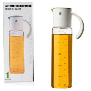 Decopatent Oliefles met Automatische schenktuit - Oliekan Glas - Olie dispenser fles voor olijfolie - Navulbaar - 500 ML - Grijs